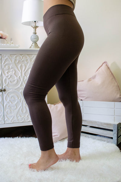 Dark Brown Fleece Lined Leggings- Non See Through Leggings- Warm Leggings