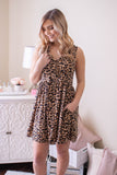 Women's Sleeveless Leopard Print Dress- Cute Leopard Dress With Pockets- $40