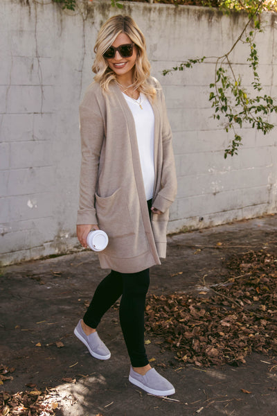 Casual Taupe Cardigan- Oversized Pocket Cardigan- Chic Simple Fall Outfit- $44