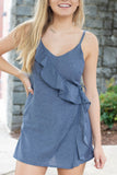 Chic Denim Romper- Ruffle Romper- Cute Fall Outfit- $38- Juliana's Boutique