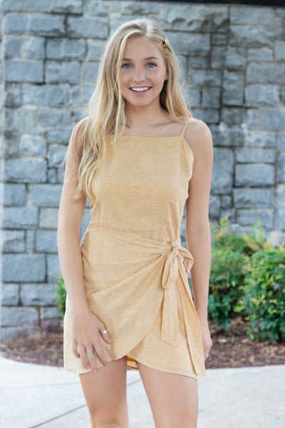 Pretty Yellow Dress- Cute Yellow Wrap Dress- $36- Affordable Online Boutique