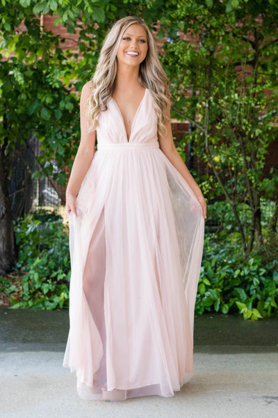 Sexy Maxi Dress- Blush Pink Tulle Dress- Wedding Guest Dress- $45