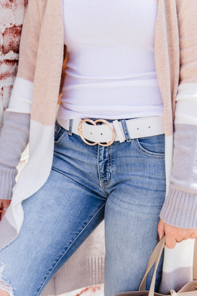 Sassy White Vegan Leather Belt- Belt With Gold Double Buckle- $14