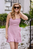 Mauve Mini Dress- Pink Wrap Dress- Short Pink Dress- Wrap Mini Dress-$34