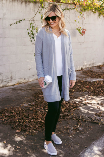 Women's Heather Grey Cowl Neck Sweater- Trendy Fall Sweaters- $38- Women's Boutique