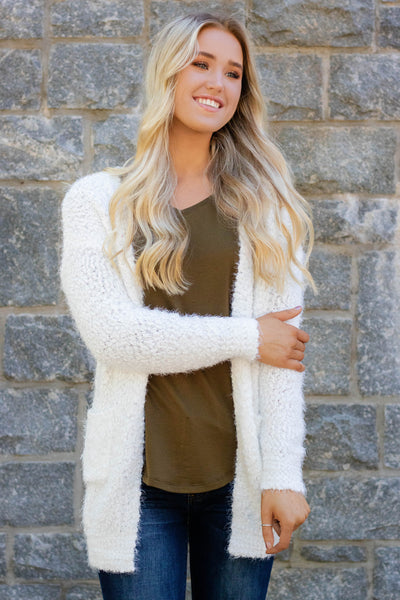 Just Popping In Cardigan-Ivory