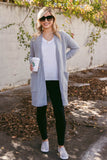 Casual Light Grey Cardigan- Oversized Pocket Cardigan- Chic Simple Fall Outfit- $44