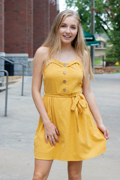 Darling Yellow Dress- Women's Mustard Yellow Sundress- $30