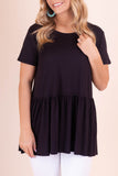Solid Black Peplum Top- Women's Super Soft Black Blouse- $28- Juliana's Boutique
