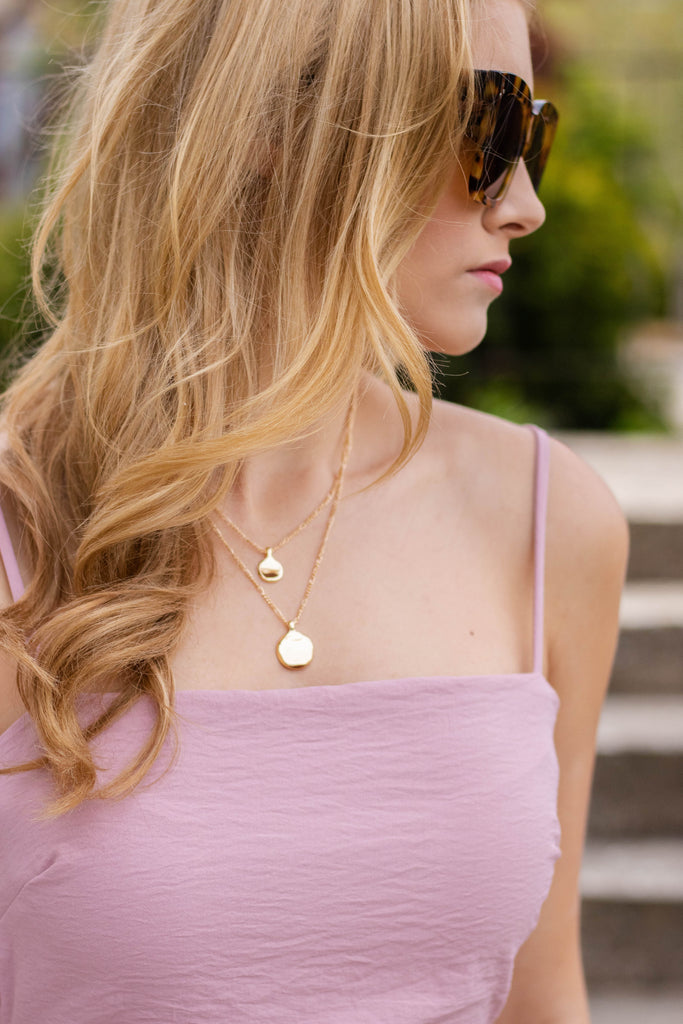 Dainty Gold Layered Necklace- Gold Medallion Layered Necklace- $14