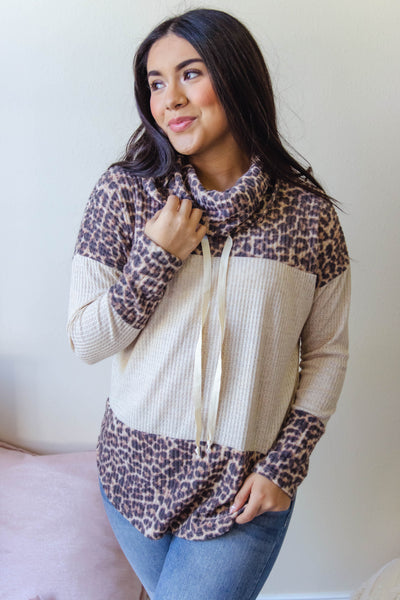 Women's Waffle Knit Pullover- Leopard Cowl Neck Sweater- $32
