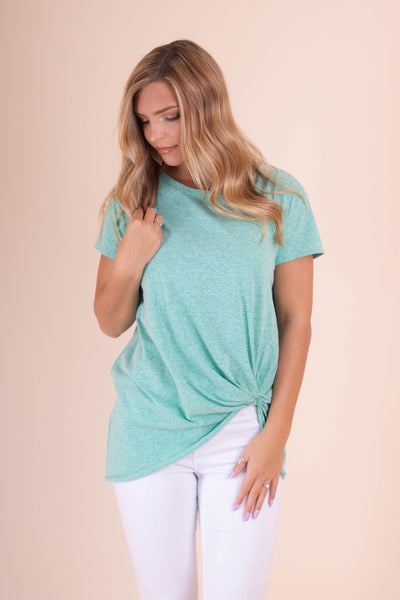 Knot Mint Green Top- Cute Comfy Top- $28- Affordable Online Women's Boutique