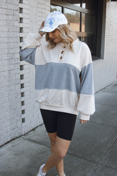 Women's Boyfriend Fit Pullover- Heather Grey Oversized Pullover- $40