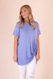 Blue Tee With Front Knot- Women's Acid Wash Top- $26- Juliana's Boutique