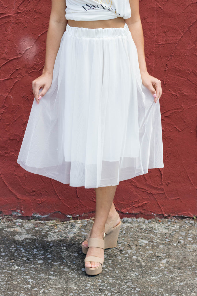 White Tulle Skirt- White Tulle Bridal Skirt- Fun Women's Skirt- $34