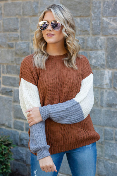 Women's Cute Color Block Sweater- Women's Brown Knit Sweater- Cute Women's Fall Outfits- $36