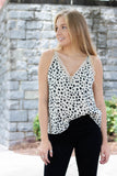 Stylish Dalmatian Print Cami- Lace Trim Tank Top- $34- Juliana's Online Trendy Boutique