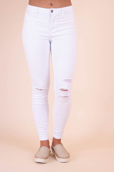 White Distressed Denim Jeans- Cute Women's White Jeans- $42- Juliana's Boutique