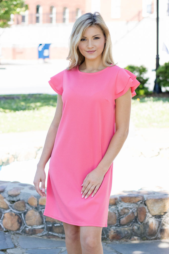 Pretty Coral Shift Dress- Cute Ruffle Short Sleeve Dress- $32- Juliana's Boutique