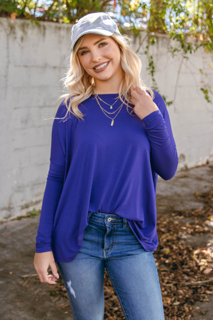 Royal Blue Long Sleeve Piko Top- Women's Blue Piko Top- $28