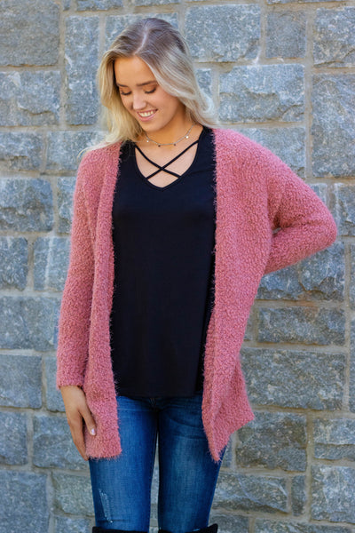 Light Rust Popcorn Cardigan- Ultra Soft Popcorn Cardigan- $36