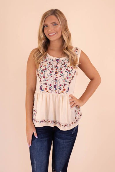 Cute Oatmeal Top- Embroidered Blouse- Sleeveless Top- $36- Juliana's Boutique