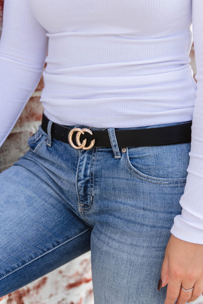 Designer Dupe Belt- Black CC Belt- $12