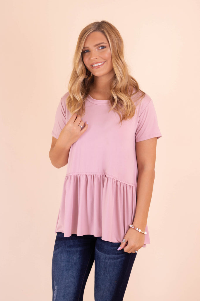 Solid Mauve Peplum Top- Women's Super Soft Pink Blouse- $28- Juliana's Boutique