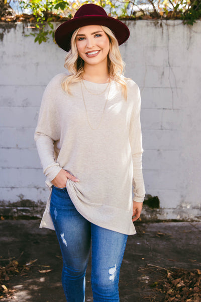 Women's Taupe Super Soft Blouse- Women's Light Taupe Tunic Top- $38