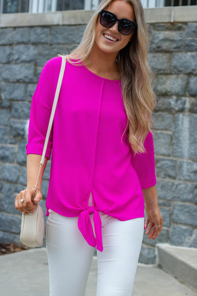 Women's Hot Pink Blouse- Women's Work Wear- Trendy Women's Clothing- Juliana's Online Boutique