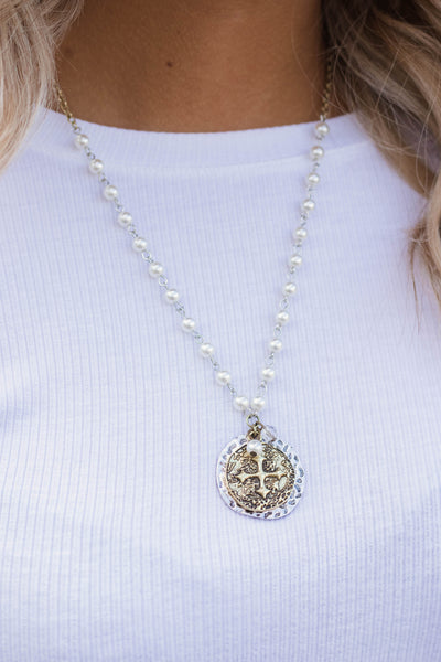 Pearl Beaded Medallion Necklace- Trendy Medallion Necklace- $16- Juliana's Boutique