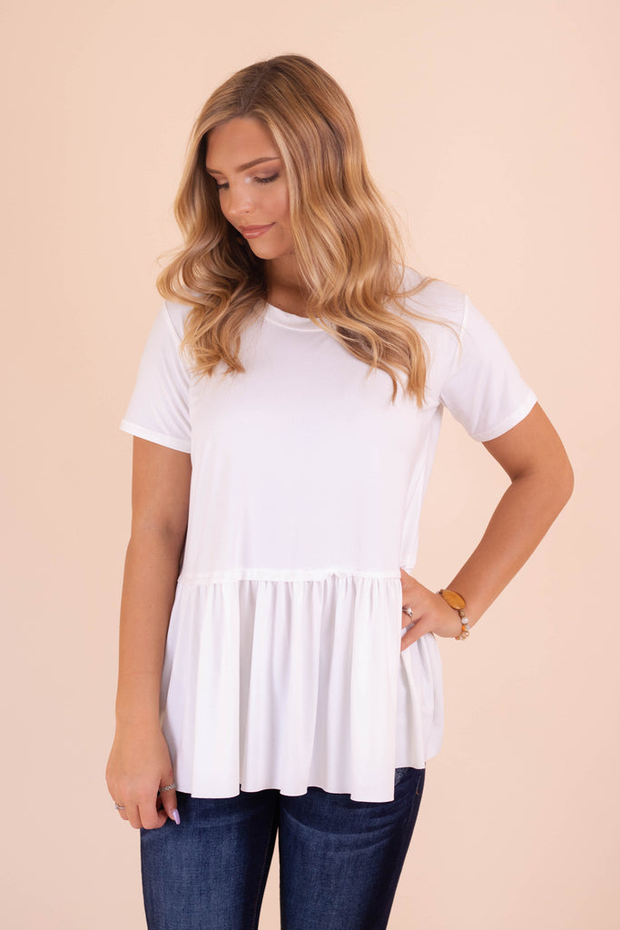 Solid White Peplum Top- Women's Super Soft White Blouse- $28- Juliana's Boutique