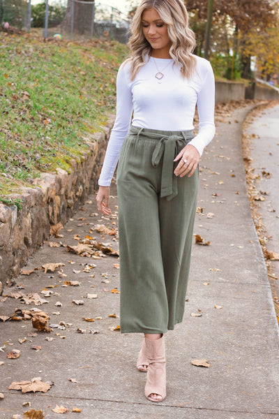 Take Command Culotte Pants-Olive