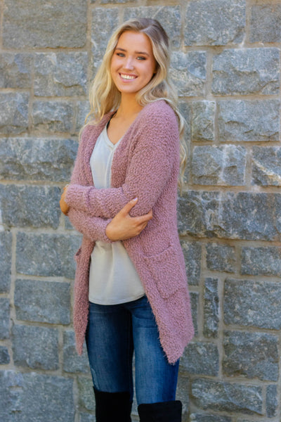 Just Popping In Cardigan-Mauve