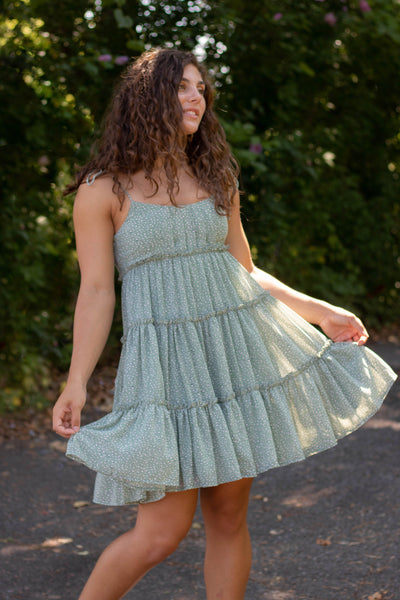 Women's Mint Dress- Micro Animal Print Dress- Cute Tiered Dress- $44