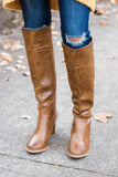 Tan Knee High Boots- Faux Leather Knee High Boots- $45- Juliana's Boutique