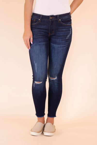 Trendy Dark Wash Skinny Jeans- Distressed Denim- KanCan Jeans- $38- Juliana's Boutique