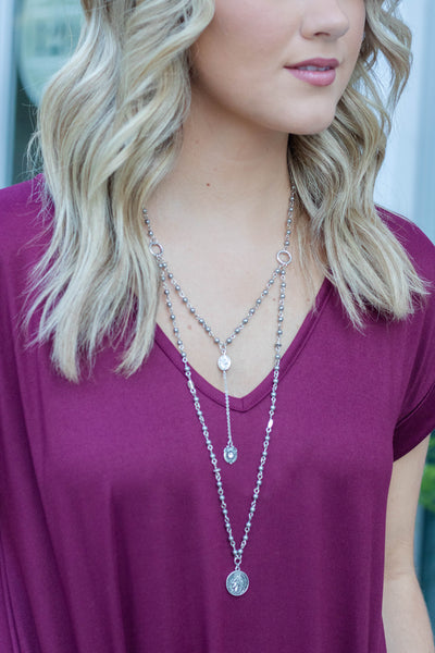 Layered Coin Necklace- Silver Layered Necklace- $16