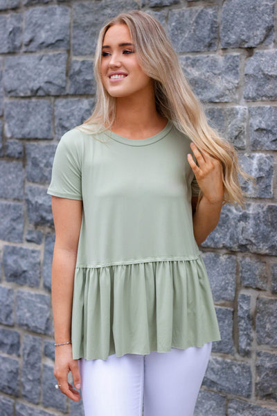 Solid Green Peplum Top- Women's Super Soft Green Blouse- $28