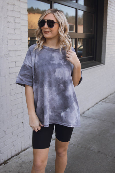 Oversized Tie Dye Tee- Women's Charcoal Boyfriend T-Shirt- $32