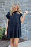 Jersey Knit Ruffled Dress- Black Tiered Ruffle Dress- $34- Affordable Online Boutique