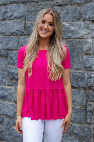Solid Hot Pink Peplum Top- Women's Super Soft Pink Blouse- $28