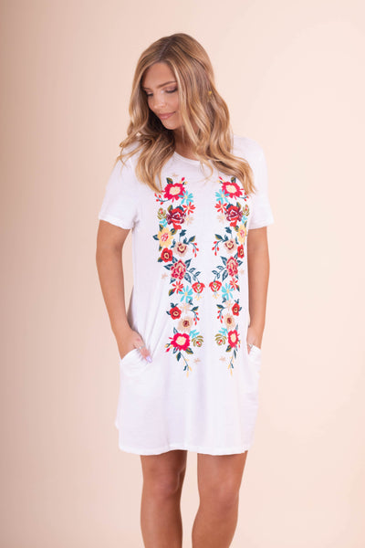 Women's White T-Shirt Dress- Floral Comfy T-Shirt Dress- $35- Juliana's Boutique