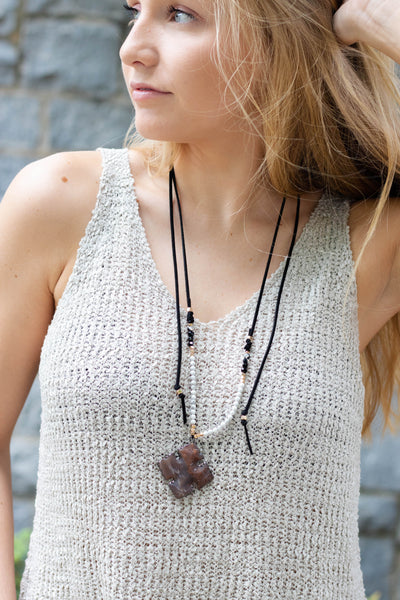 Run Wild Wrap Necklace-Black
