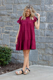 Jersey Knit Ruffled Dress- Maroon Tiered Ruffle Dress- $34- Affordable Online Boutique