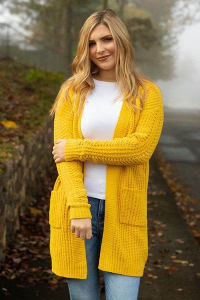 Making Decisions Cardigan-Mustard