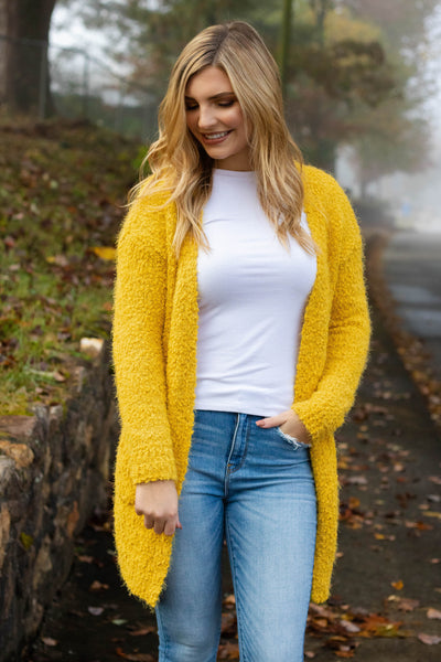 Just Popping In Cardigan-Mustard