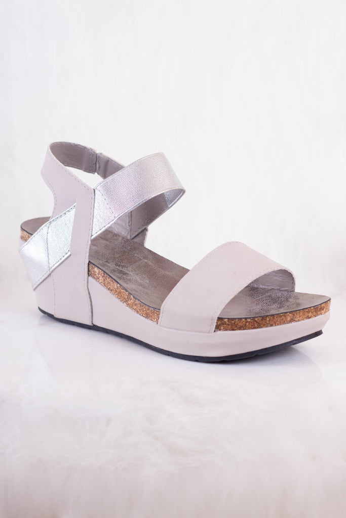 Women's Low Wedge- Cute Silver Wedges- $40- Juliana's Boutique