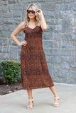 Sexy Leopard Print Midi Dress- Women's Midi Dresses- Women's Leopard Print Dress- $42