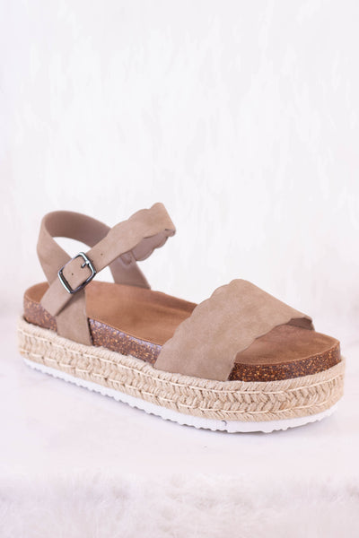 Trendy Flatform Wedges- Taupe Scalloped Wedges- $40- Juliana's Boutique